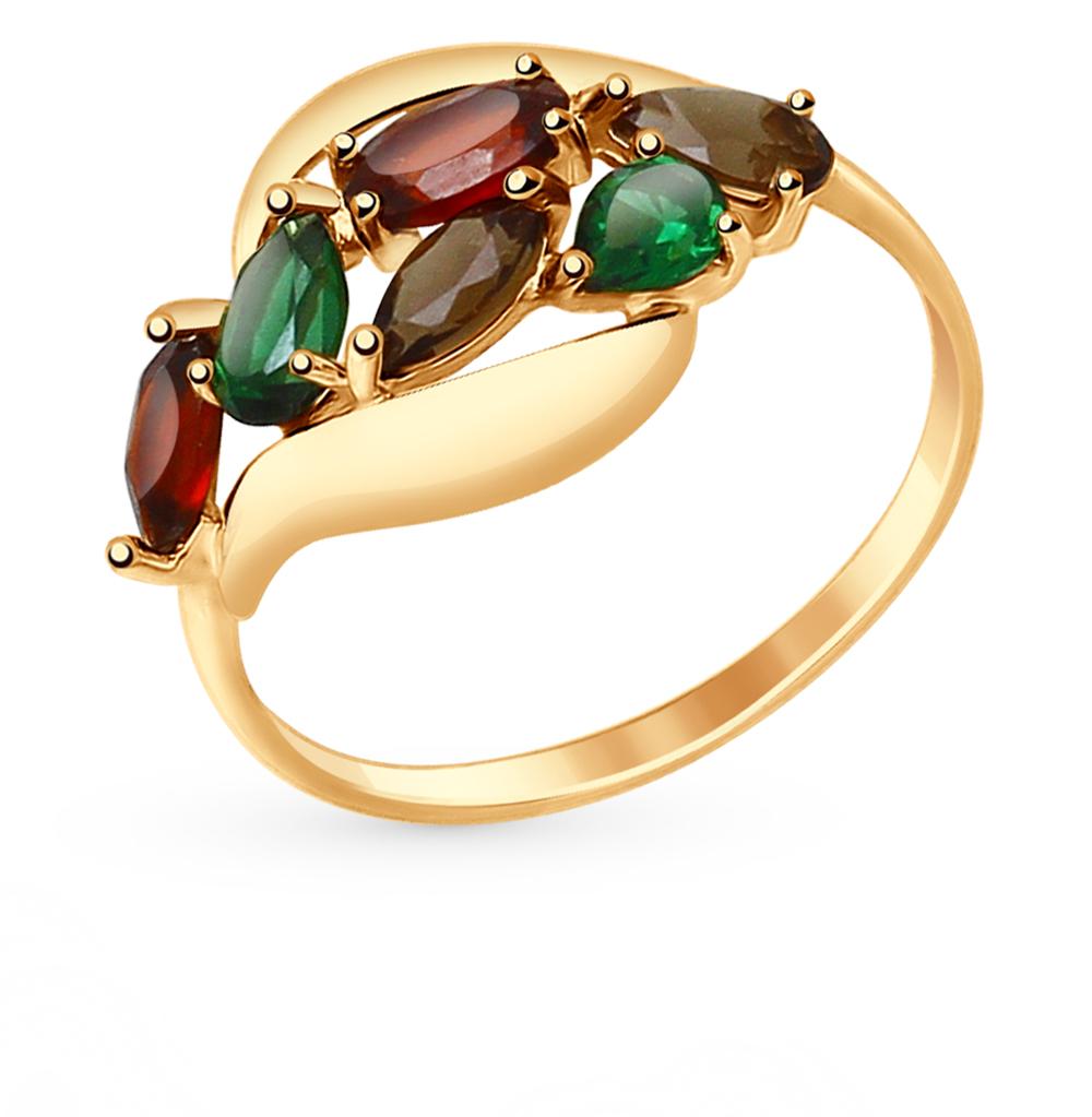 золотое кольцо с нанокристаллами, раухтопазами и гранатом SOKOLOV 714690*