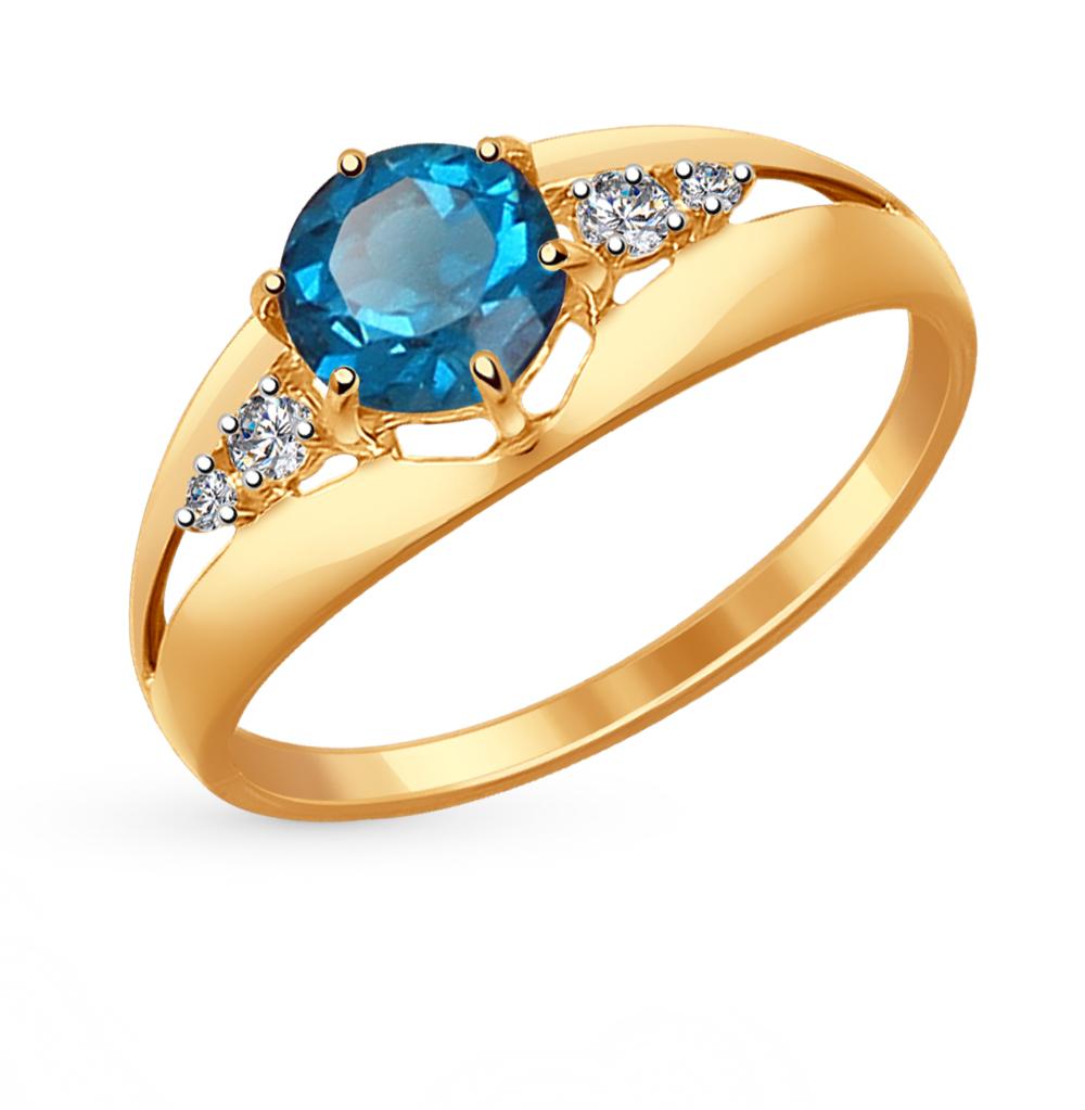 Фото «золотое кольцо с топазами и фианитами»