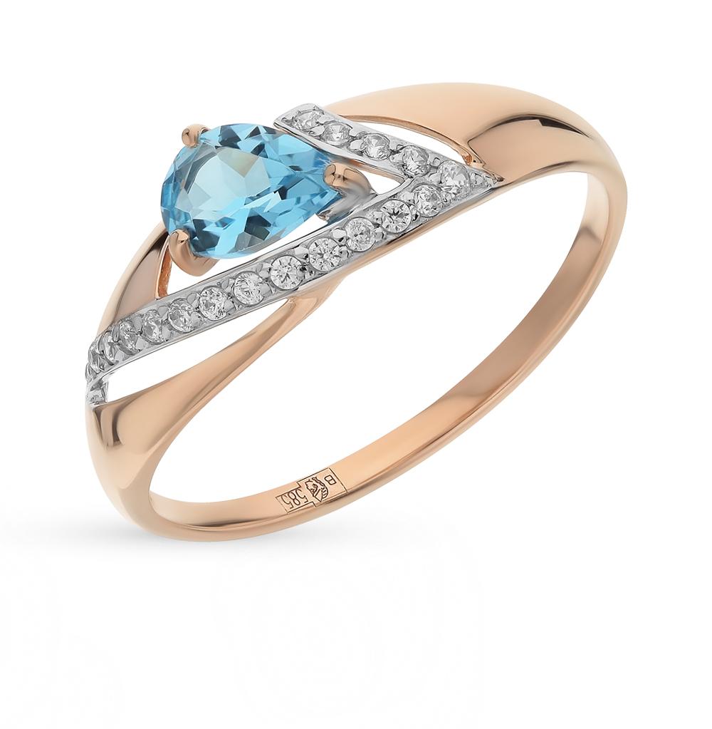 золотое кольцо с топазами и фианитами SOKOLOV 714674*