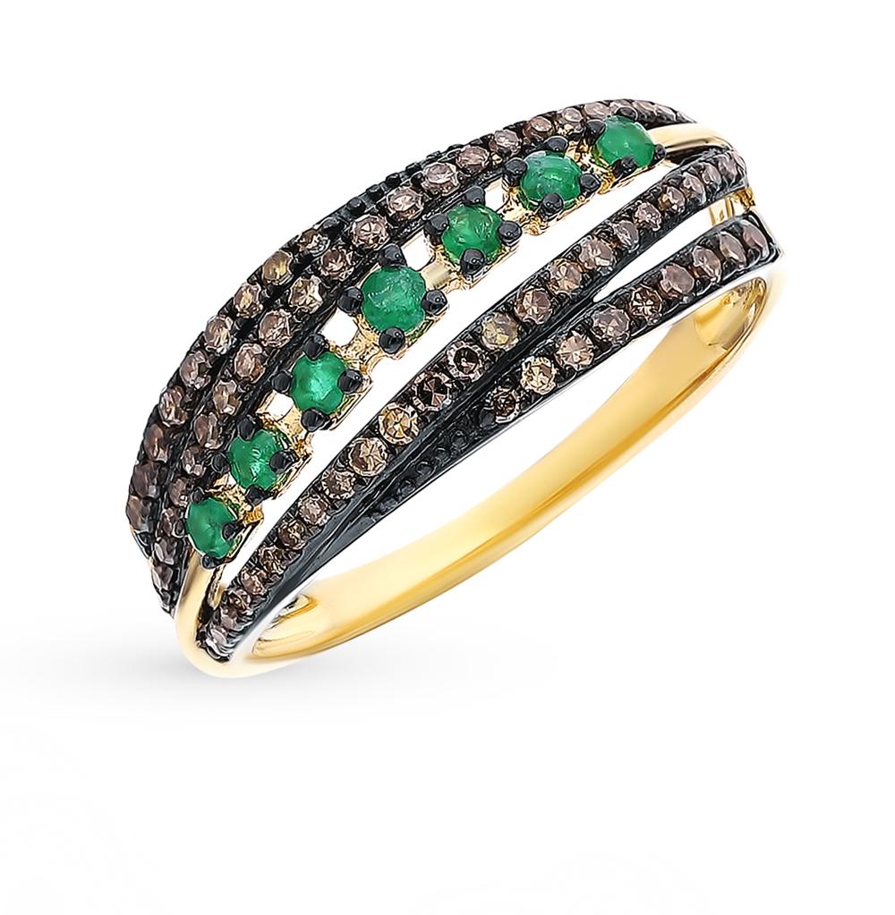 Фото «Золотое кольцо с бриллиантами коньячными и изумрудами»