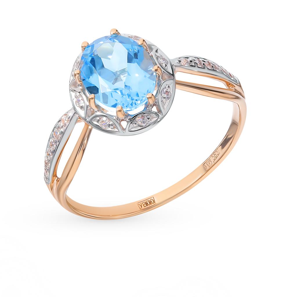 золотое кольцо с топазами и фианитами SOKOLOV 715031*