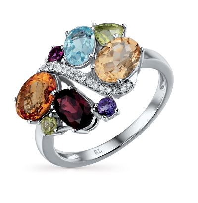 Золотое кольцо с хризолитом, аметистом, топазами, гранатом, цитринами и бриллиантами в Санкт-Петербурге