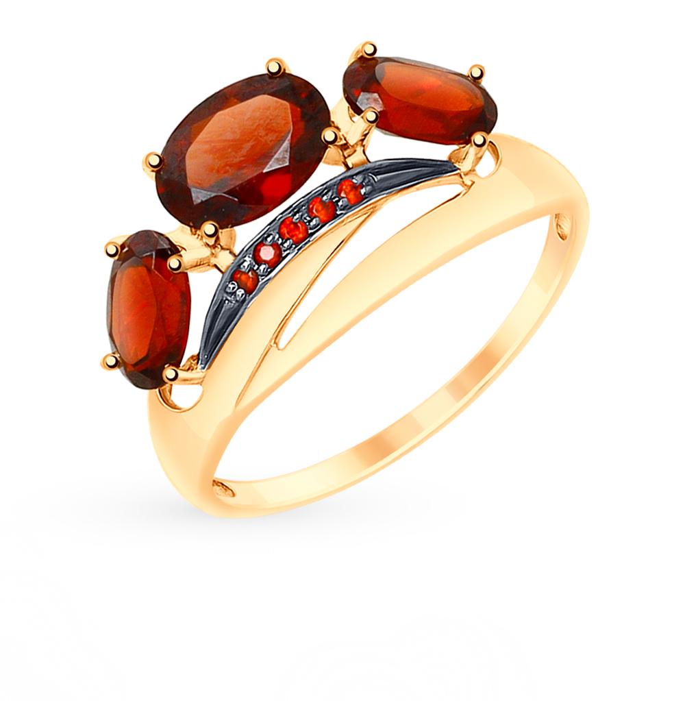 золотое кольцо с фианитами и гранатом SOKOLOV 715141*