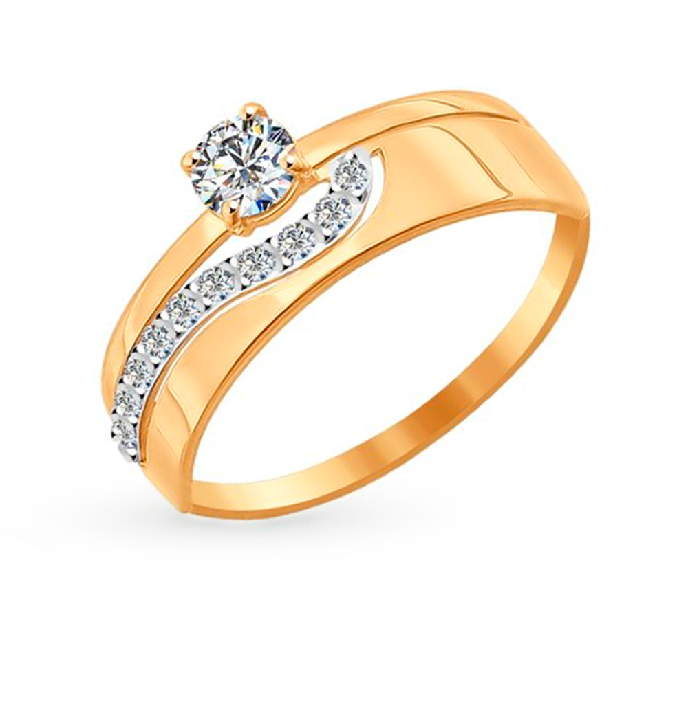 Фото «Золотое кольцо с фианитами SOKOLOV 016895»