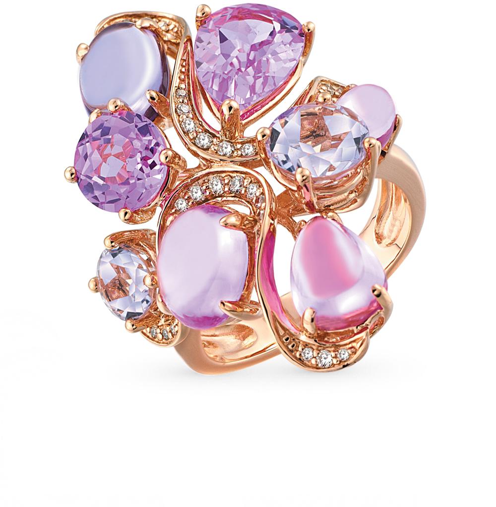 Фото «Золотое кольцо с сапфирами, аметистом и бриллиантами»