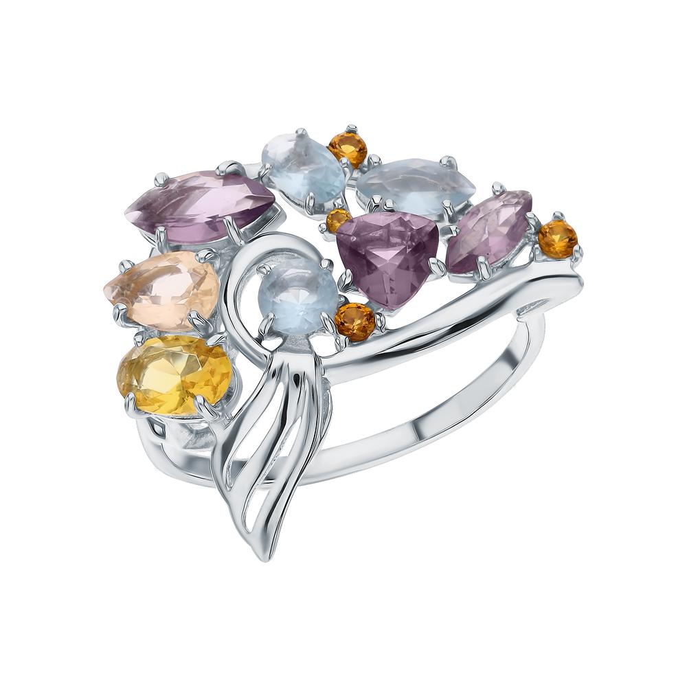 Серебряное кольцо с морганитами, фианитами, цитринами синтетическими, топазами имитациями и аметистами синтетическими в Екатеринбурге