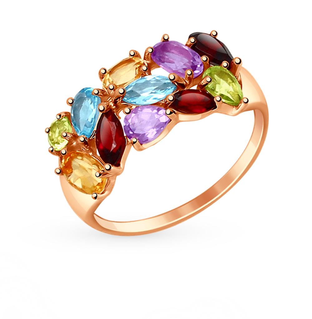 золотое кольцо с хризолитом, аметистом и топазами SOKOLOV 714683*