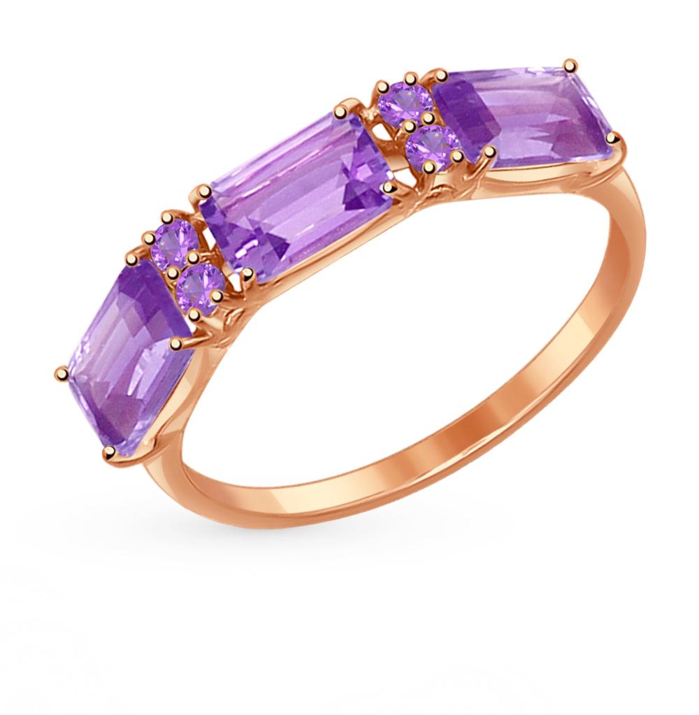 золотое кольцо с аметистом и фианитами SOKOLOV 714559*
