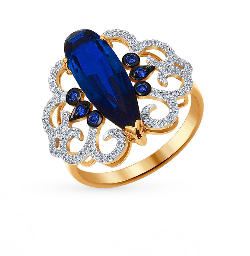 Фото «золотое кольцо с эмалью, корундами синтетическими и бриллиантами»