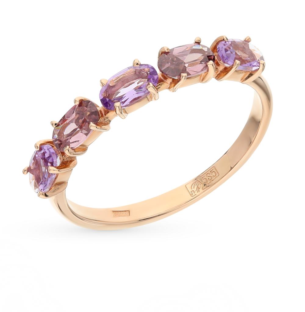 Фото «золотое кольцо с аметистом и родолитами синтетическими»