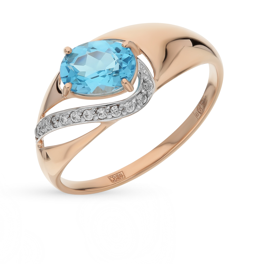 Фото «Золотое кольцо с топазами и фианитами SOKOLOV 714671*»