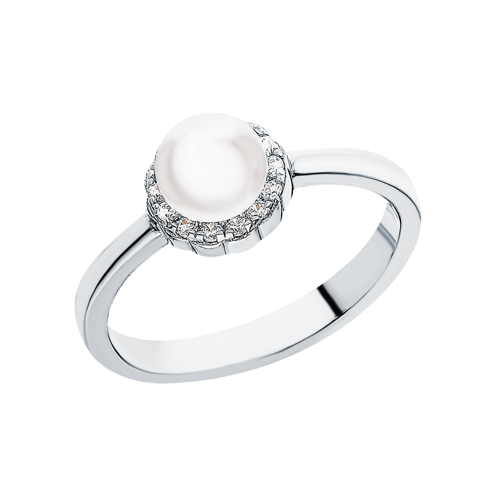 Серебряное кольцо с жемчугами культивированными в Екатеринбурге