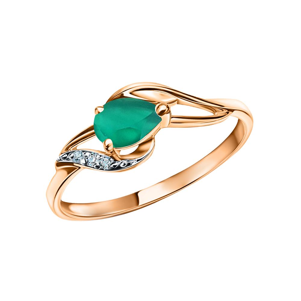 Фото «Золотое кольцо с агатом и бриллиантами»