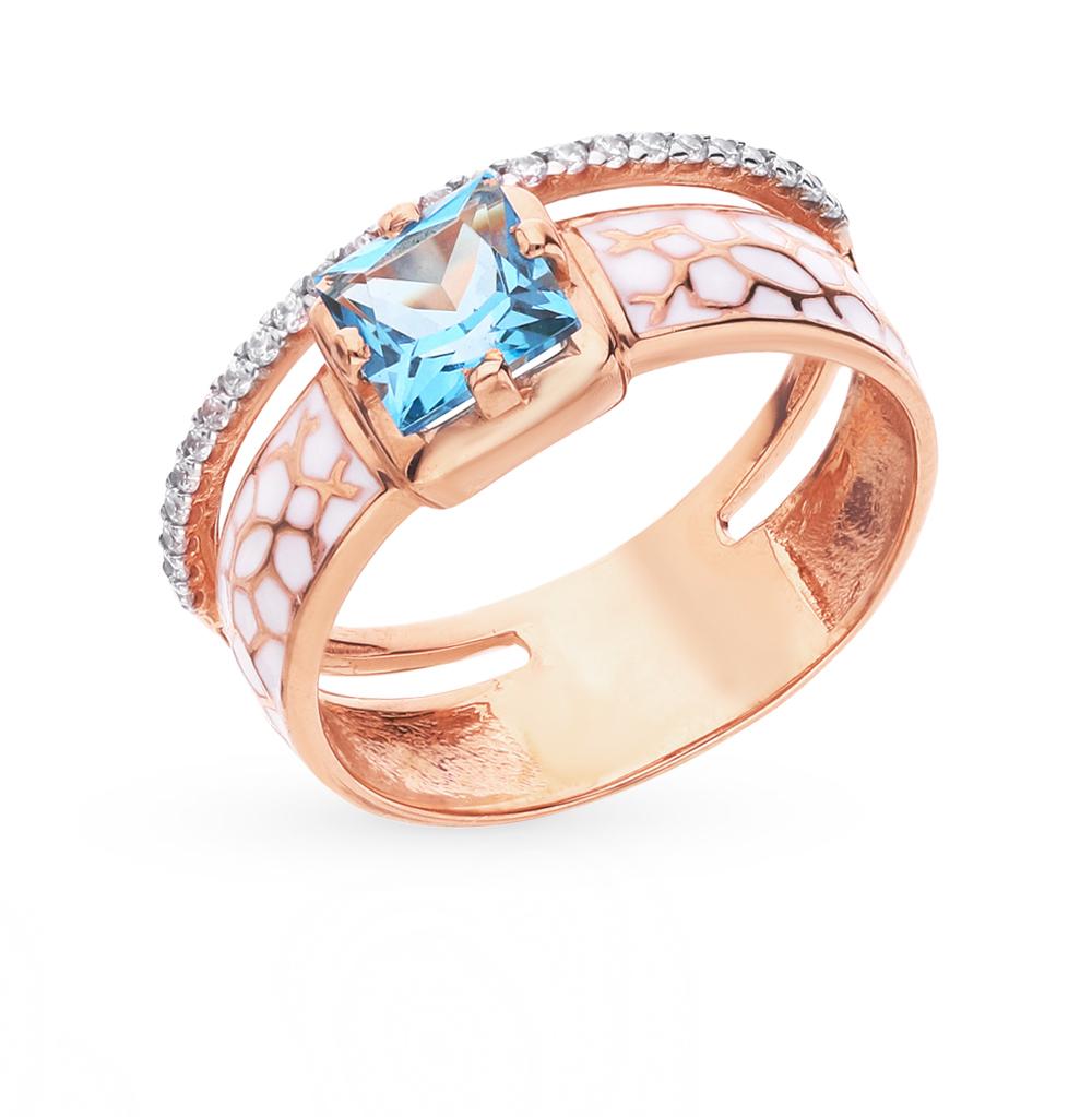 Золотое кольцо с топазами, фианитами и эмалью в Санкт-Петербурге