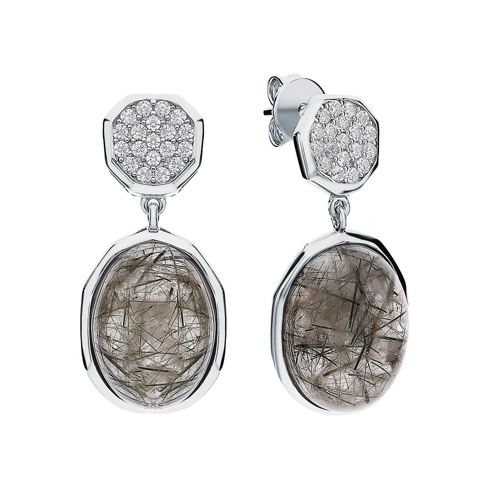 Фото «Серебряные серьги с фианитами и лабрадоритами»