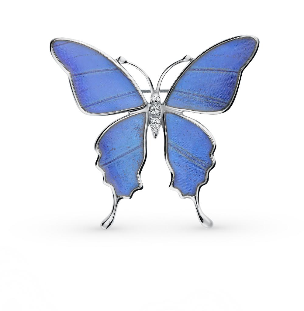 Серебряная брошь с фианитами, эмалью и крыльями бабочки, 6 см