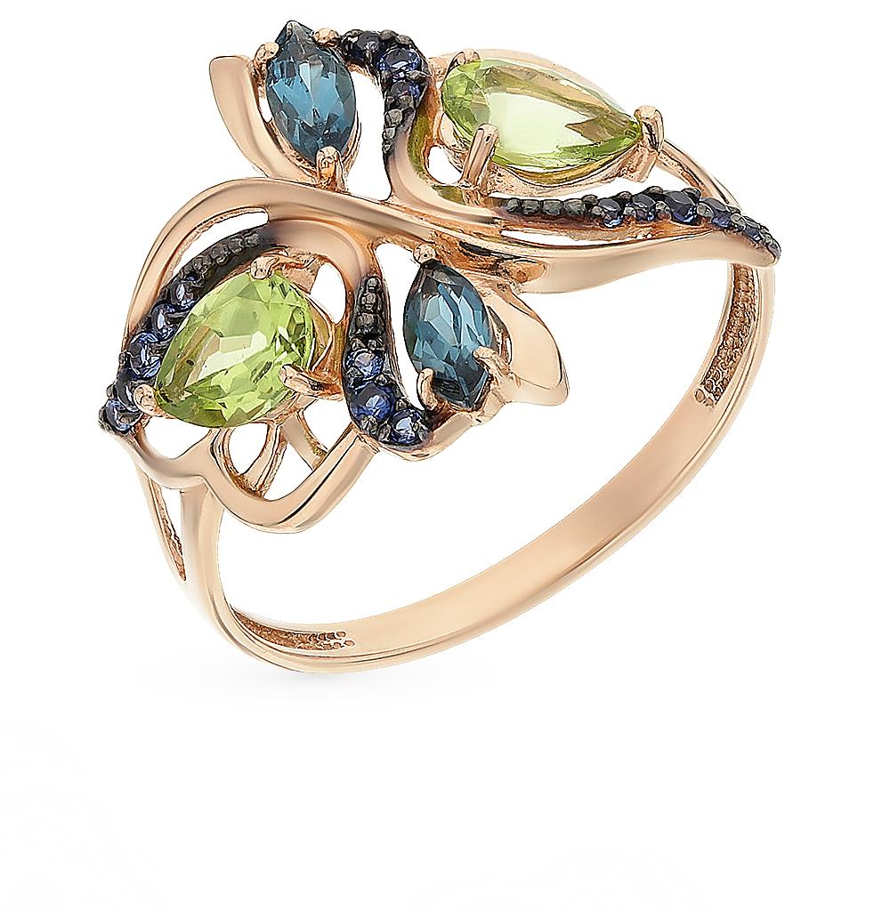 fe6e3e078c74 Золотое кольцо с хризолитом и топазами ООО