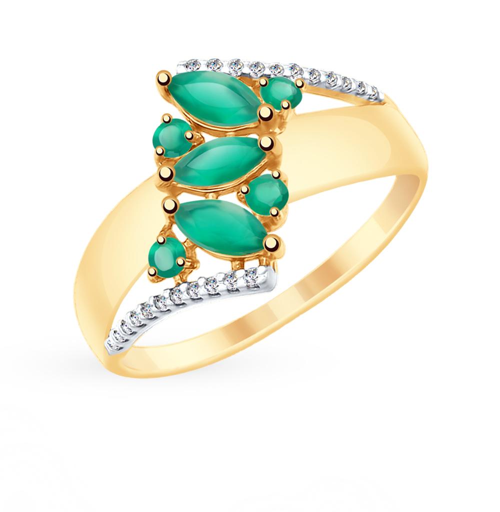 золотое кольцо с фианитами и агатом SOKOLOV 715405*