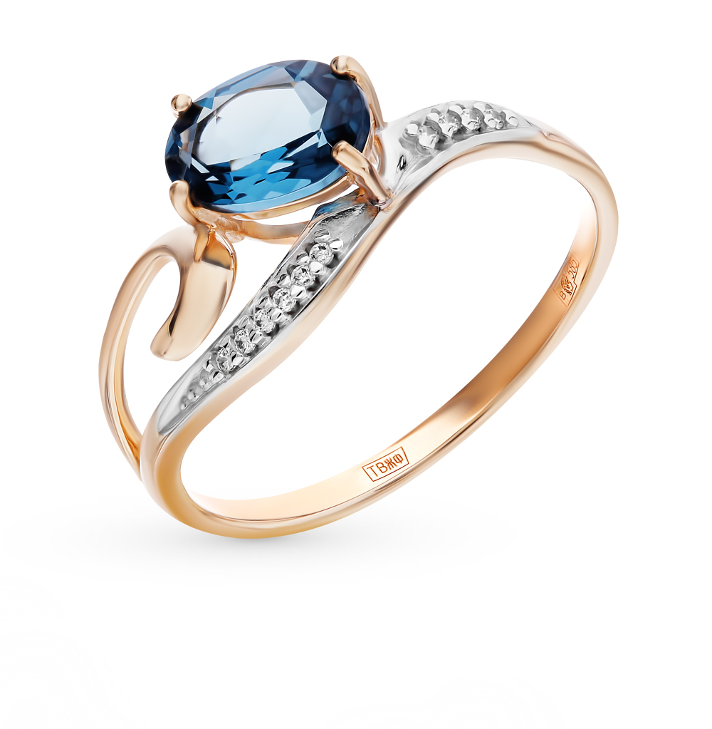 золотое кольцо с топазами и фианитами SOKOLOV 713842*