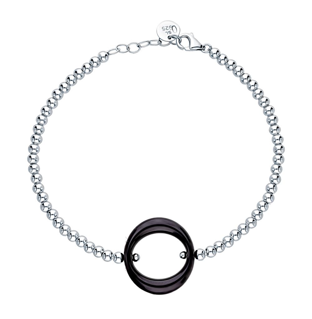 серебряный браслет с керамикой