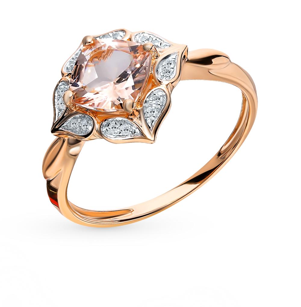 Золотое кольцо с морганитом и бриллиантами в Екатеринбурге