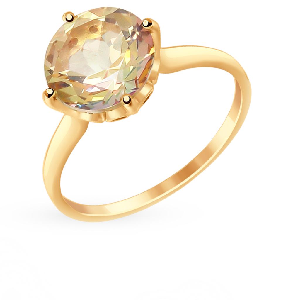 золотое кольцо с топазами и фианитами SOKOLOV 714915*