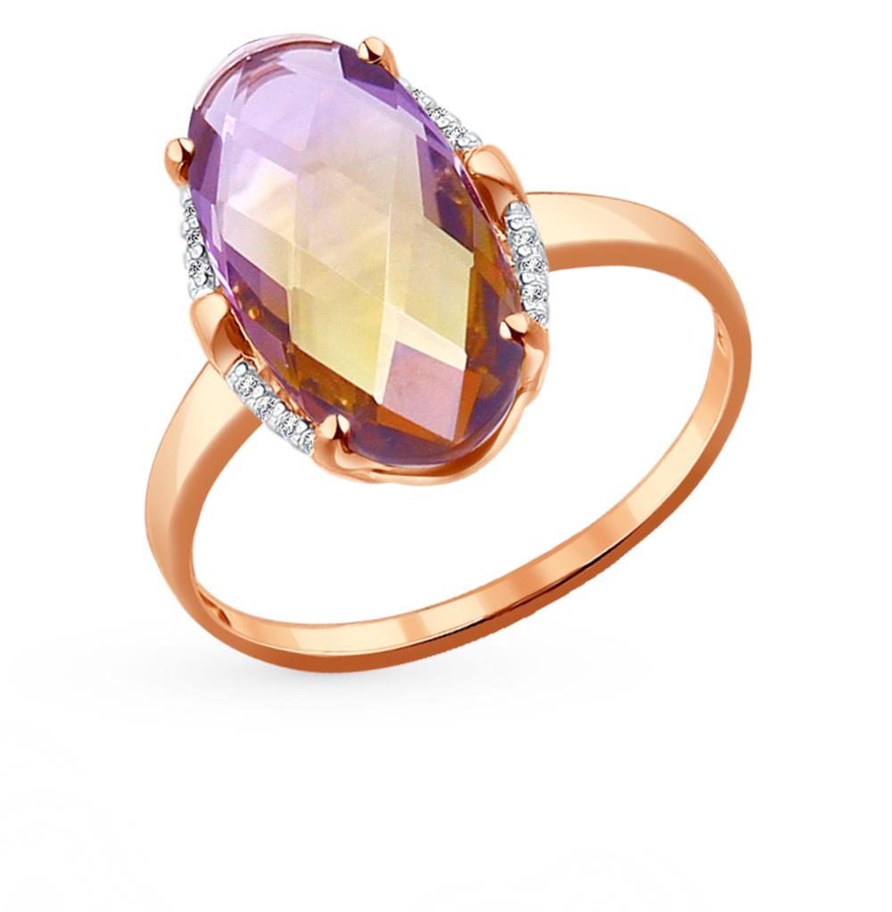 Фото «Золотое кольцо с аметрином и ситаллами SOKOLOV 714094»