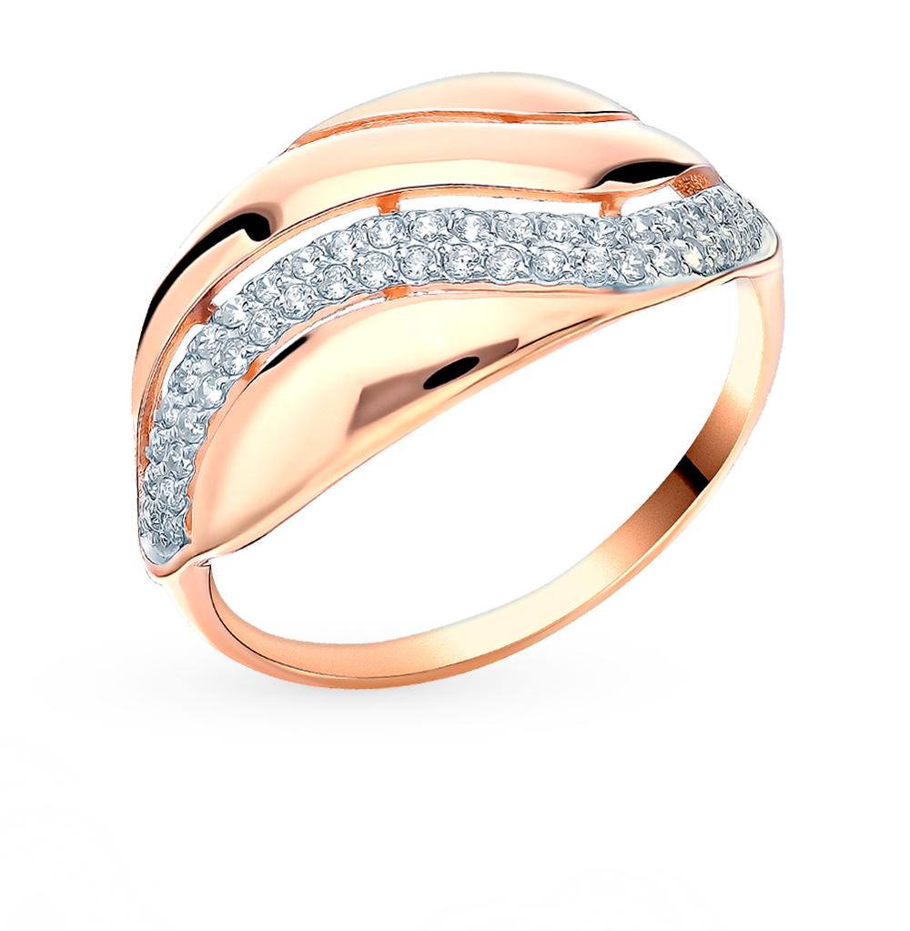 золотое кольцо с фианитами SOKOLOV 018465*