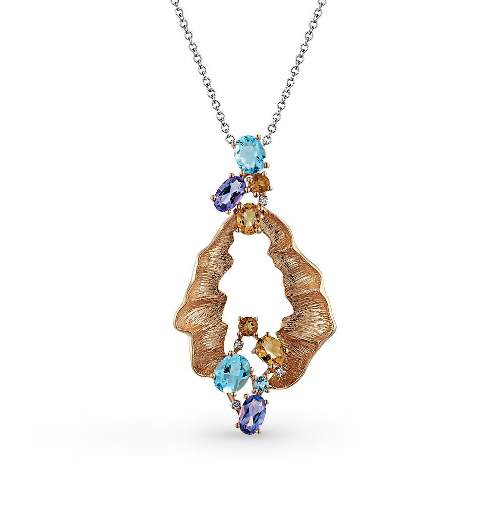 Фото «золотая подвеска с аметистом, цитринами, топазами и бриллиантами»
