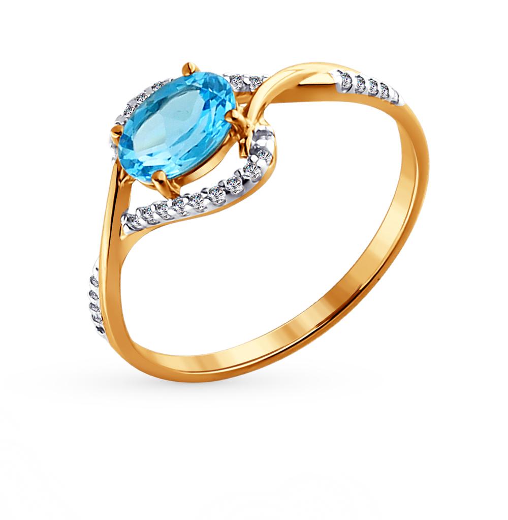 Фото «Золотое кольцо с топазами и фианитами SOKOLOV 713836*»