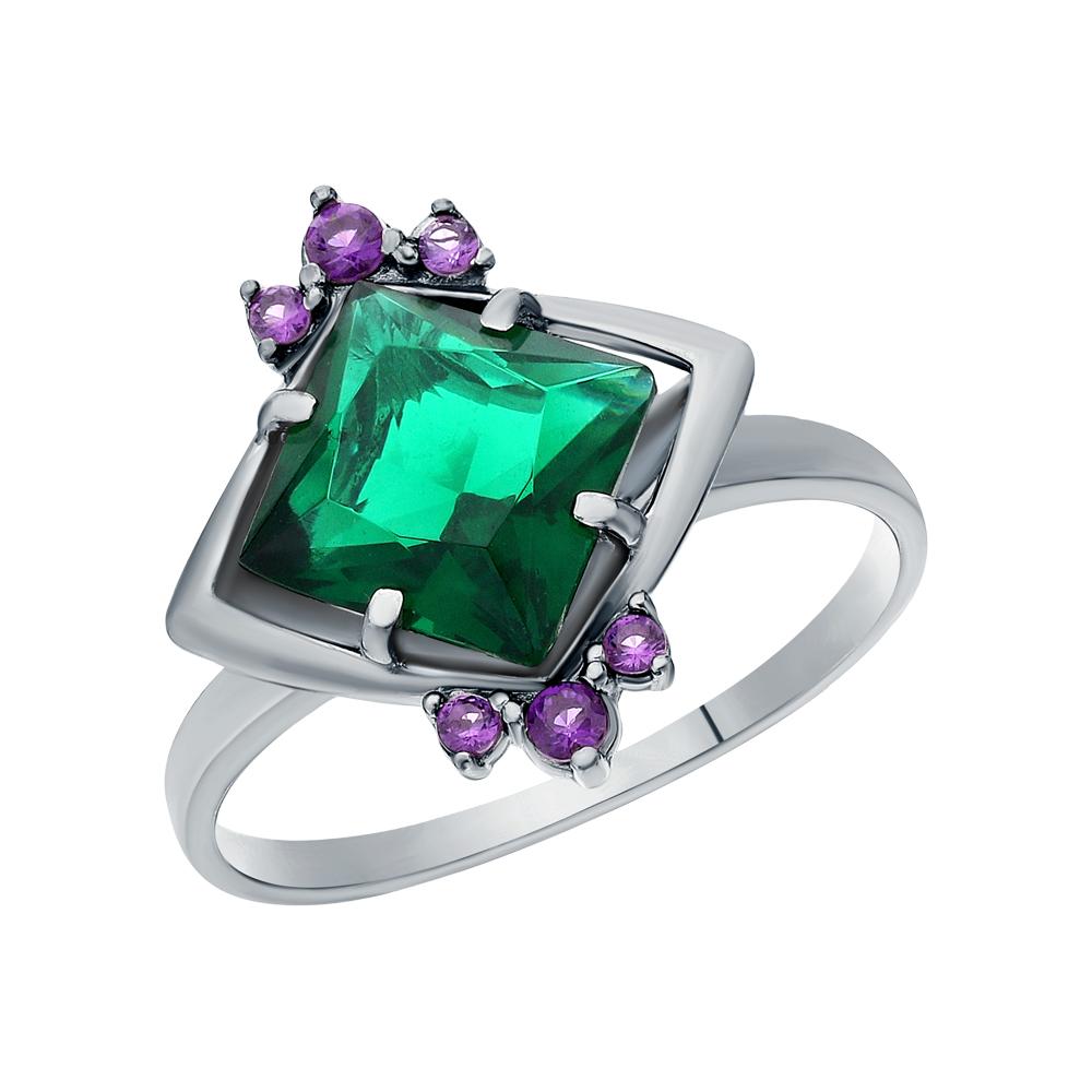 Фото «Серебряное кольцо с фианитами и изумрудами имитациями»