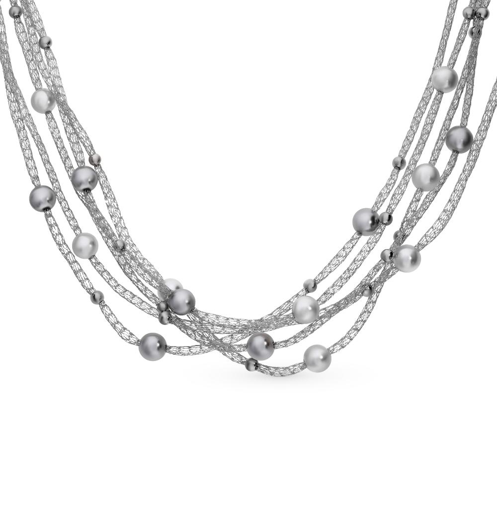 серебряное шейное украшение с кристаллами и жемчугом