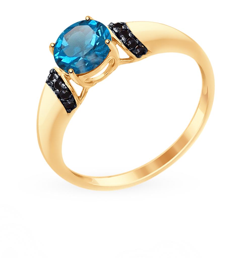 Фото «Золотое кольцо с топазами и фианитами SOKOLOV 714959*»