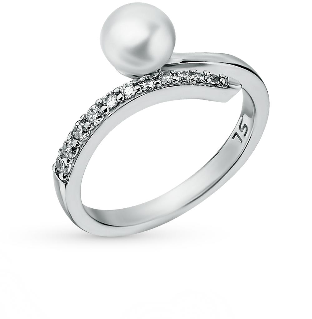 серебряное кольцо с фианитами и жемчугами культивированными