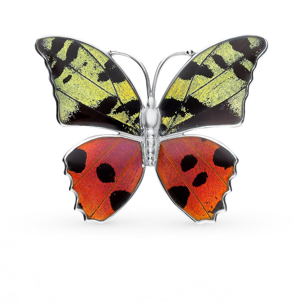 Фото «Серебряная брошь с фианитами, эмалью и крыльями бабочки, 5.5 см»