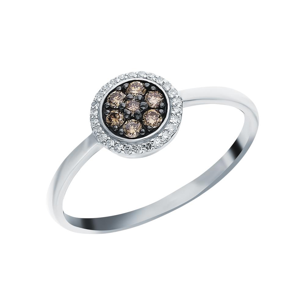 Золотое кольцо с бриллиантами коньячными и бриллиантами в Екатеринбурге