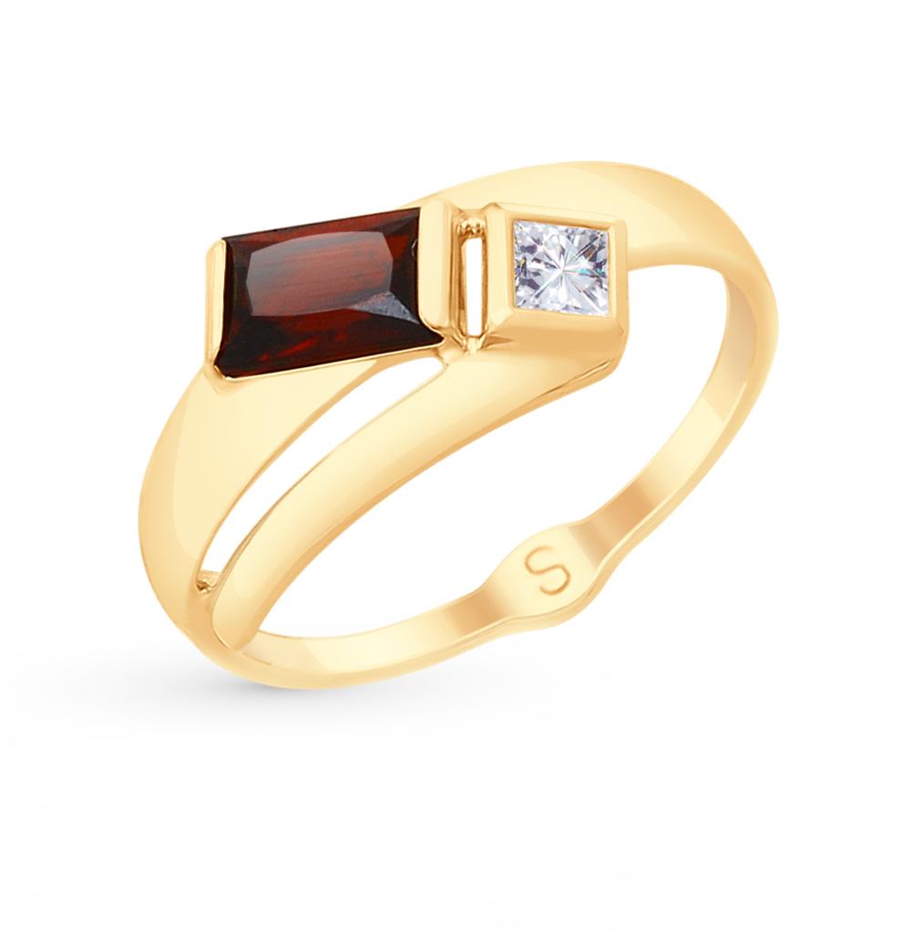 Фото «Золотое кольцо с фианитами и гранатом SOKOLOV 715055*»