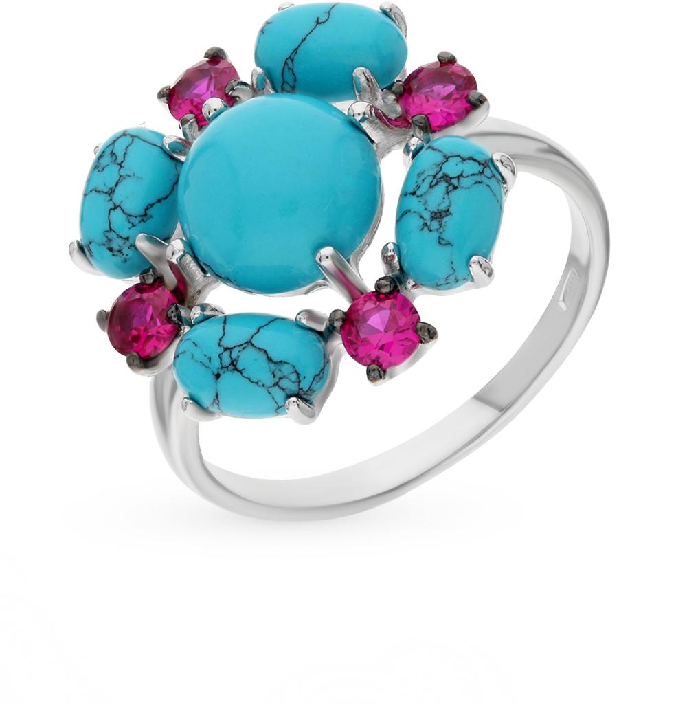 Фото «серебряное кольцо с бирюзой и фианитами»