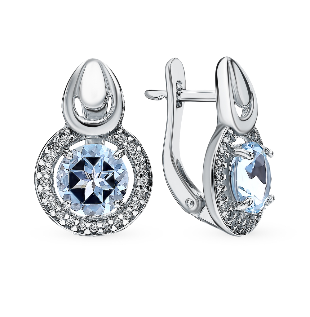серебряные серьги с топазами SOKOLOV 92021728