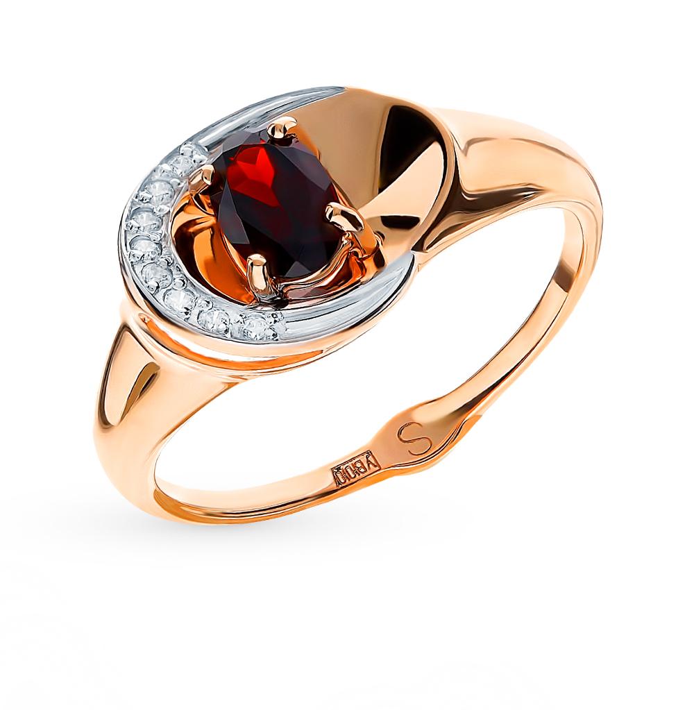 Фото «Золотое кольцо с фианитами и гранатом SOKOLOV 715189*»