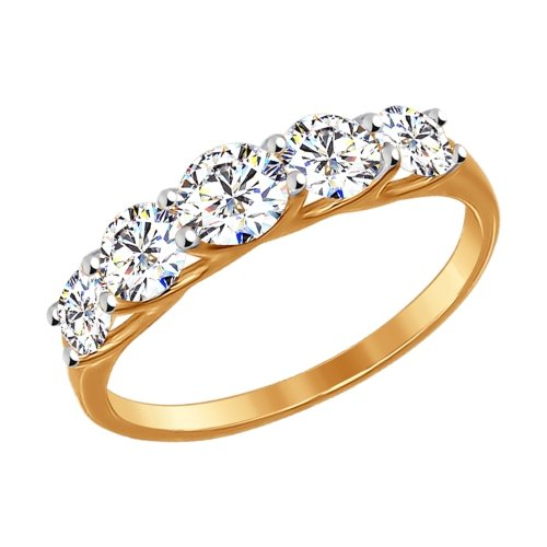 Золотое кольцо с фианитами SOKOLOV 017145* в Екатеринбурге