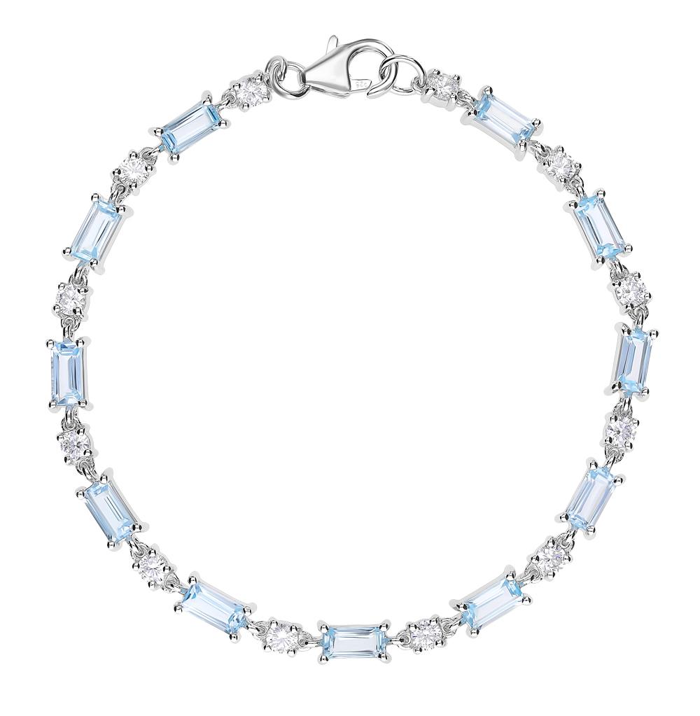 серебряный браслет с топазами и фианитами