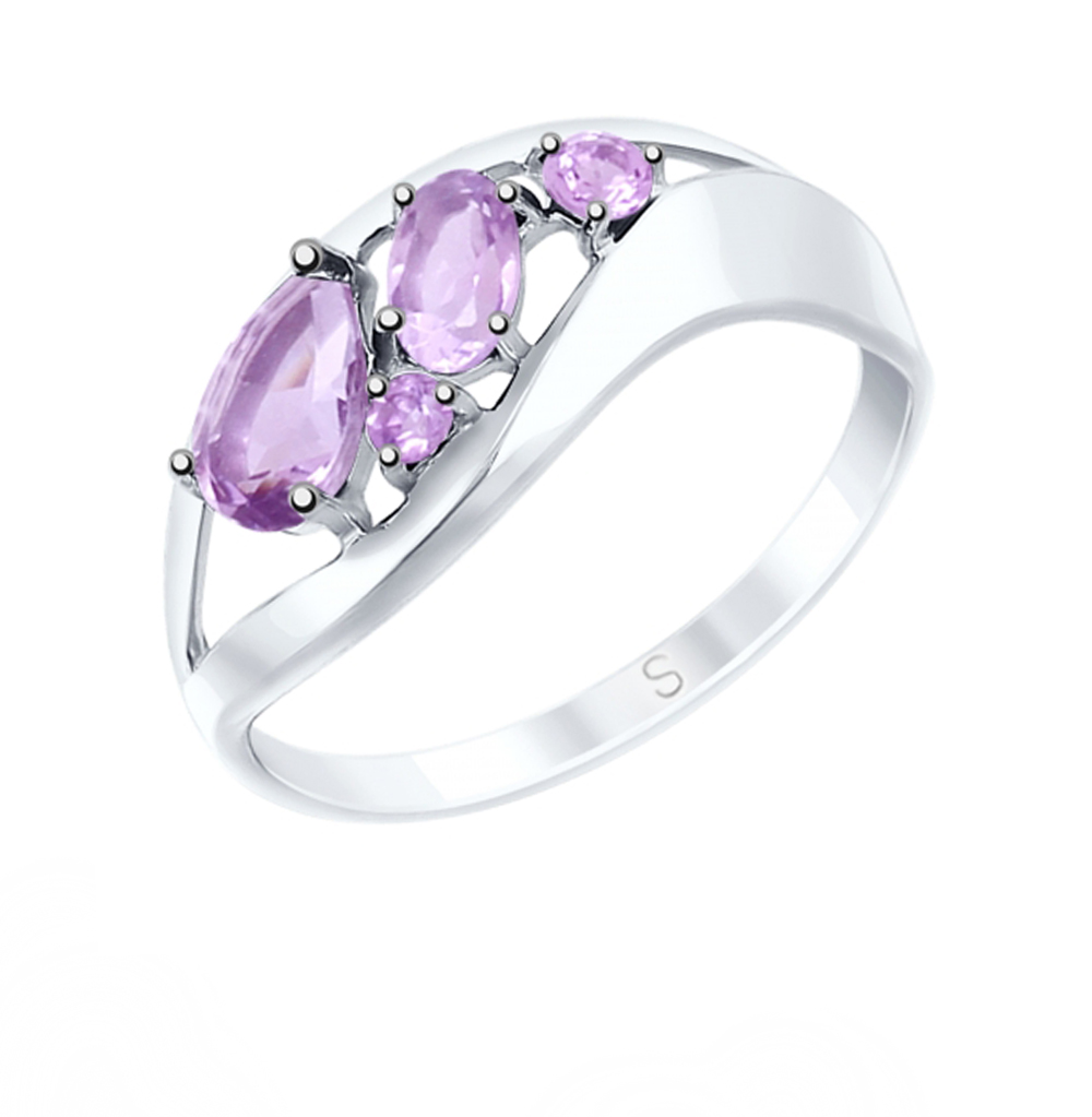 Фото «Серебряное кольцо с аметистом SOKOLOV 92011574»