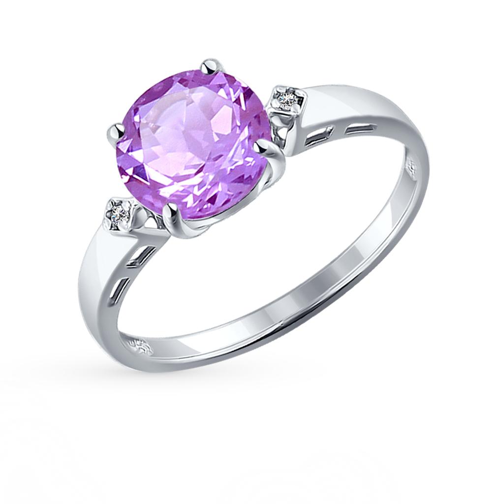Серебряное кольцо с аметистом и фианитами SOKOLOV 92011013 в Екатеринбурге