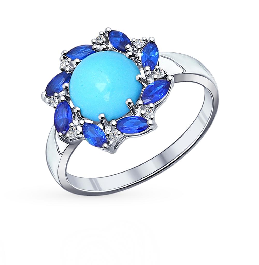 Фото «Серебряное кольцо с бирюзой и фианитами SOKOLOV 94011824»