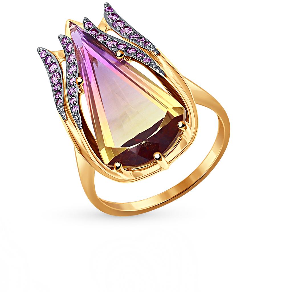 Золотое кольцо с аметрином и фианитами SOKOLOV 714365* в Екатеринбурге