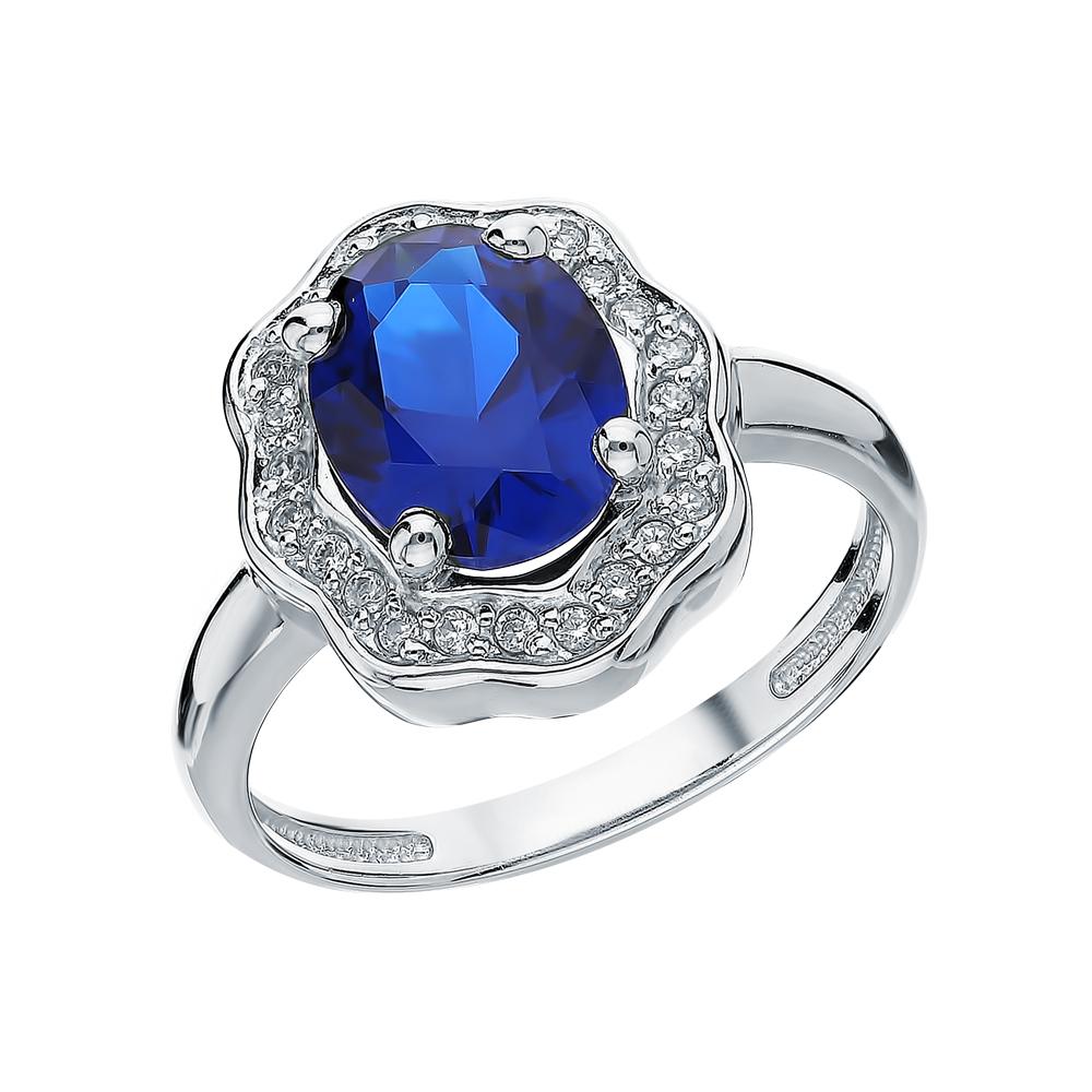 Фото «Серебряное кольцо с сапфирами, фианитами и шпинелями синтетическими»