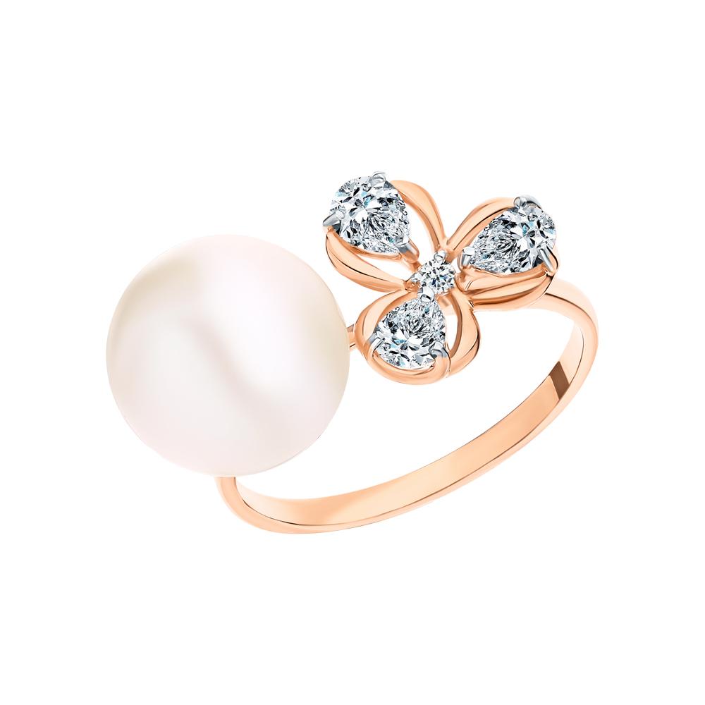 Золотое кольцо с жемчугом и фианитами swarovski SOKOLOV 791165* в Екатеринбурге