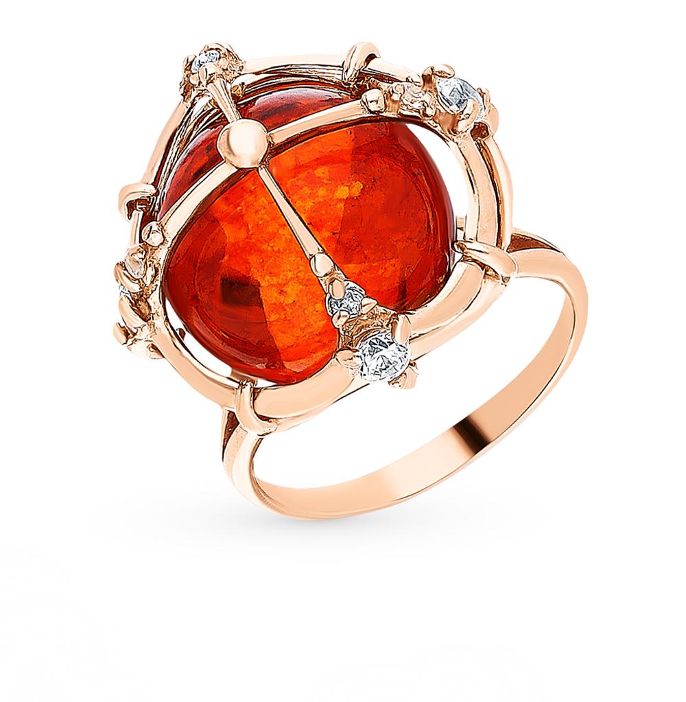 Серебряное кольцо с фианитами и янтарем в Екатеринбурге