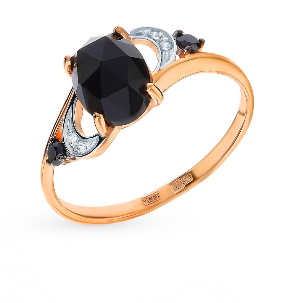 Фото «Золотое кольцо с фианитами и агатом SOKOLOV 715238*»